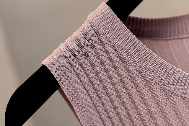 Korobov Summer Sleeveless Vest Sweater O-Neck Lurex Knitted Pullovers Tops Female Korean Thin Solid Women Tank Jumper 78593 8