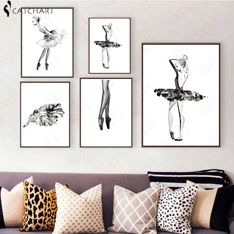 Modern Black White Ballet Dancer Silhouette Girl watercolor Art Print Poster Wall Picture Canvas Painting Ballerina Home Decor