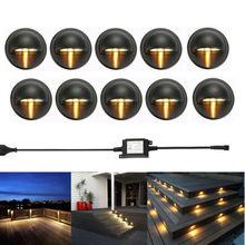 10 adet/grup Siyah 35mm Yarım Ay LED Açık Bahçe Yard Çit Merdiven LED Güverte Ray Adım Işıkları Lambaları Düşük gerilim Dize Işık