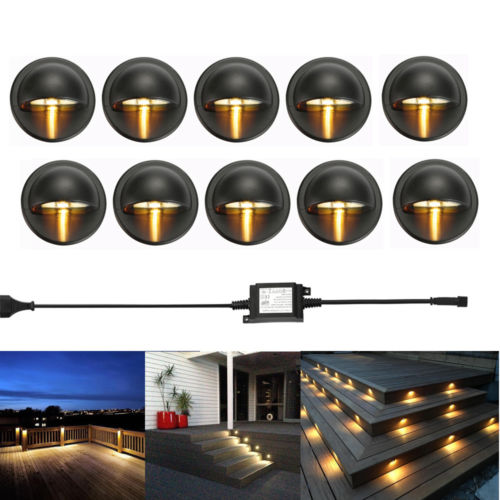 10PCS/lot Black 35mm Half Moon LED Outdoor Garden Yard Fence Stair LED Deck Rail Step Lights Lamps Low Voltage String Light