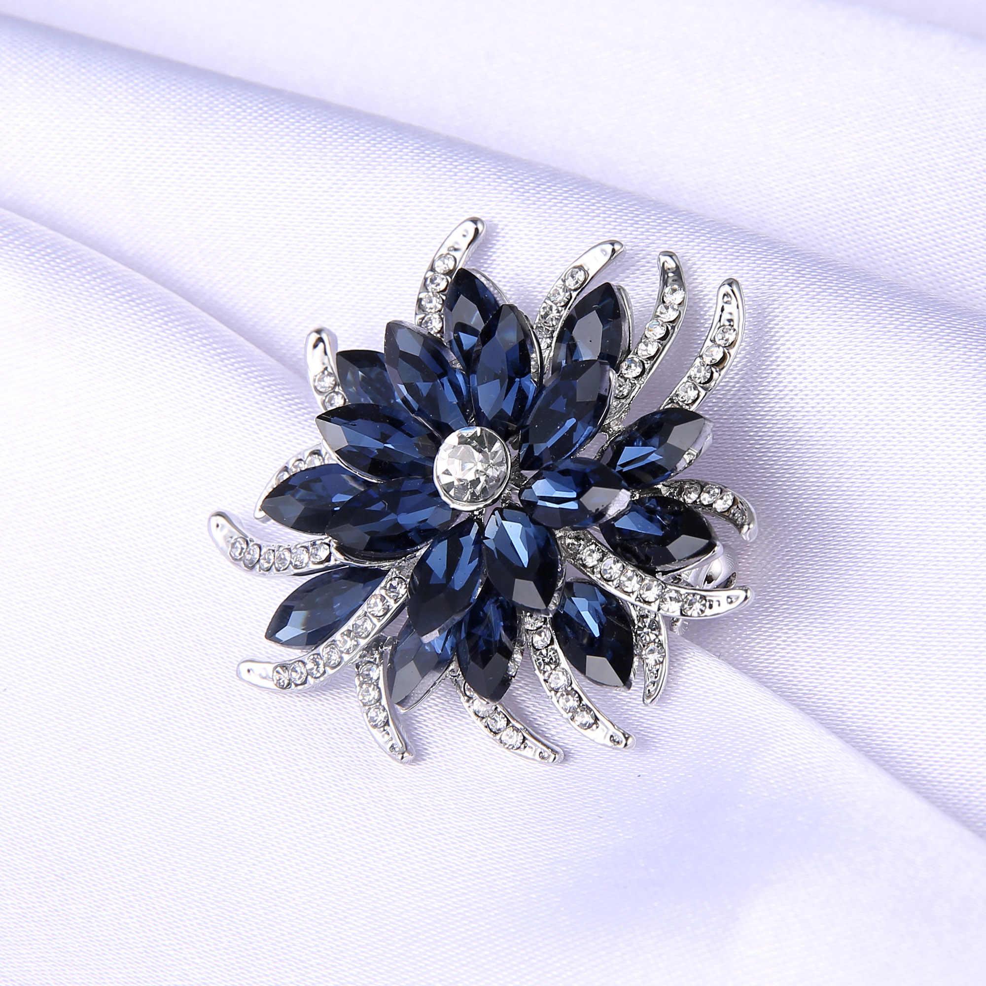 קריסטל סיכת סיכות נשים סגול פרח Broches נירוסטה תכשיטי אופנה מסיבת חתונת סיכת תכשיטים