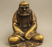 free 9 Chinese Buddhism Copper Seat Eminent monk Dharma Bodhidharma Damo Statue fast