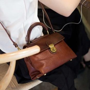 2018 new original handmade vintage leather casual messenger bag vegetable tanned leather handbag shoulder bag