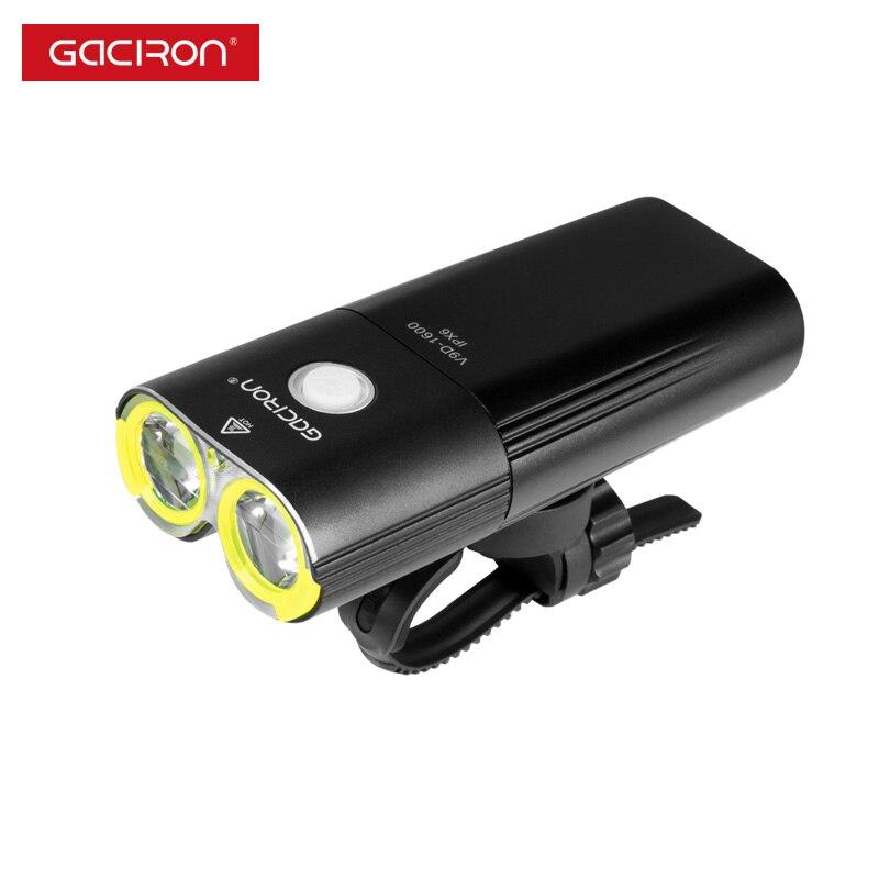 GACIRON profesional 1600 lúmenes de bicicleta banco de potencia de luz impermeable USB recargable luz de la bici de linterna - 5