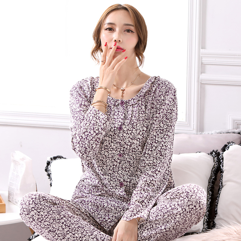 Spring 100%Cotton Floral Warm Long Sleeve Round Neck Cardigan Elegant Loose Plus Size M-4XL Women Pajamas Set Female Sleepwear