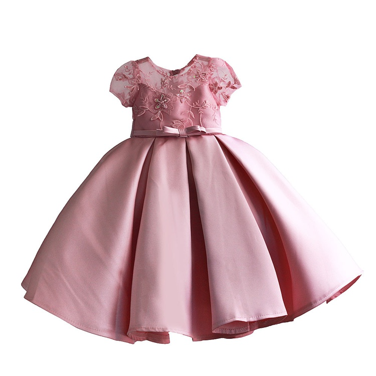 Baby Girls Beaded And Lace Dress Kids Embroidered Evening Dress Children Princess Dresses For Party And Wedding 4-9T
