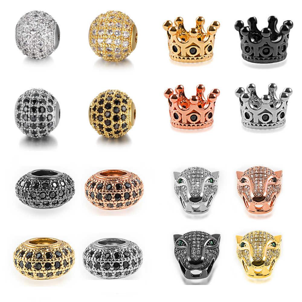 Alta calidad redondo cráneo leopardo cabeza micro pavé cz cobre zirconia cuentas para pulsera diy accesorios de fabricación de joyas al por mayor
