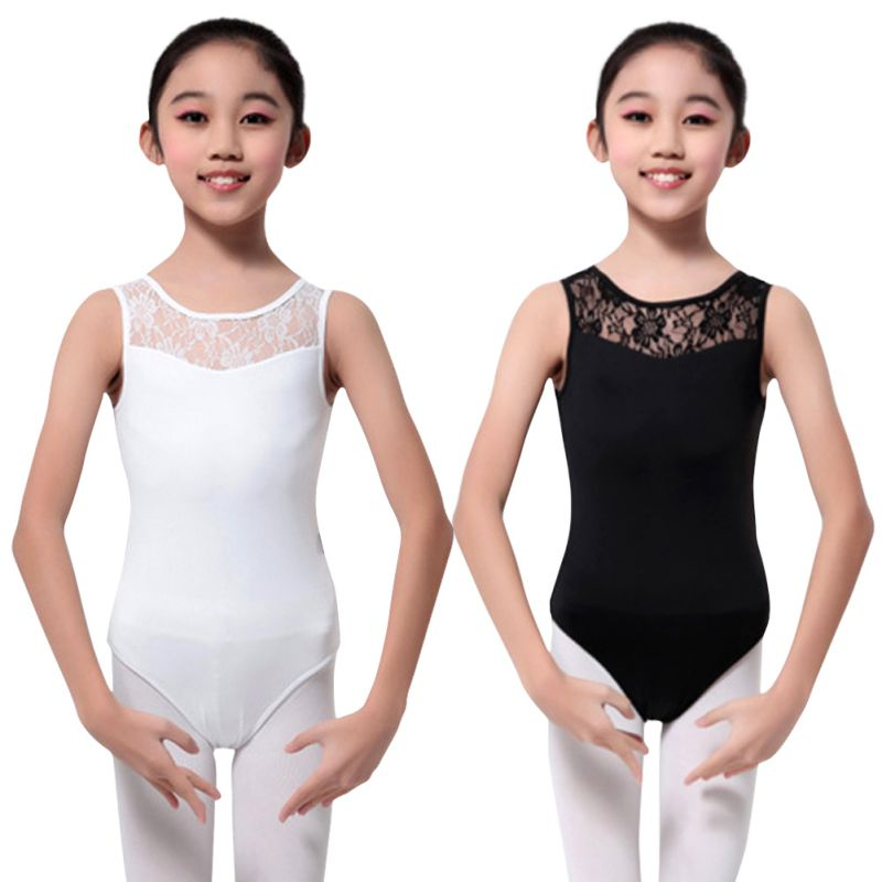 69aef0c0f94f Girls Cotton Lycra Lace Black Tank Dance Leotard with Open Back Girl ...