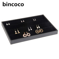 Hot Selling Jewelry Display Tray Black Leather And Velvet Earrings Organizer Tray Fashion Jewelry Display Show