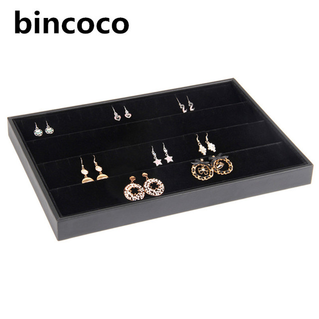 bincoco jewelry display tray black leather and velvet earring