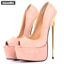 jialuowei Brand New 22CM Super High Heel Platform Peep Toe Gold Metal Spike Heel Pumps Women Wedding Party Nightclub Show Shoes