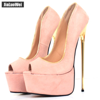 jialuowei Brand New 22CM Super High Heel Platform Peep Toe Gold Metal Spike Heel Pumps Women Wedding Party Nightclub Show Shoes