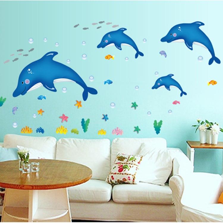 Great Blue Dolphin Seaweed Home Kitchen Childrenu0027s Room Decorative PVC Wall  Stickers Kids Cartoon Bedroom Decor Vinyl