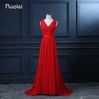 Real Photo Simple Design V Neck A Line Chiffon Red Evening Dresses Long Ruffles Vestido De