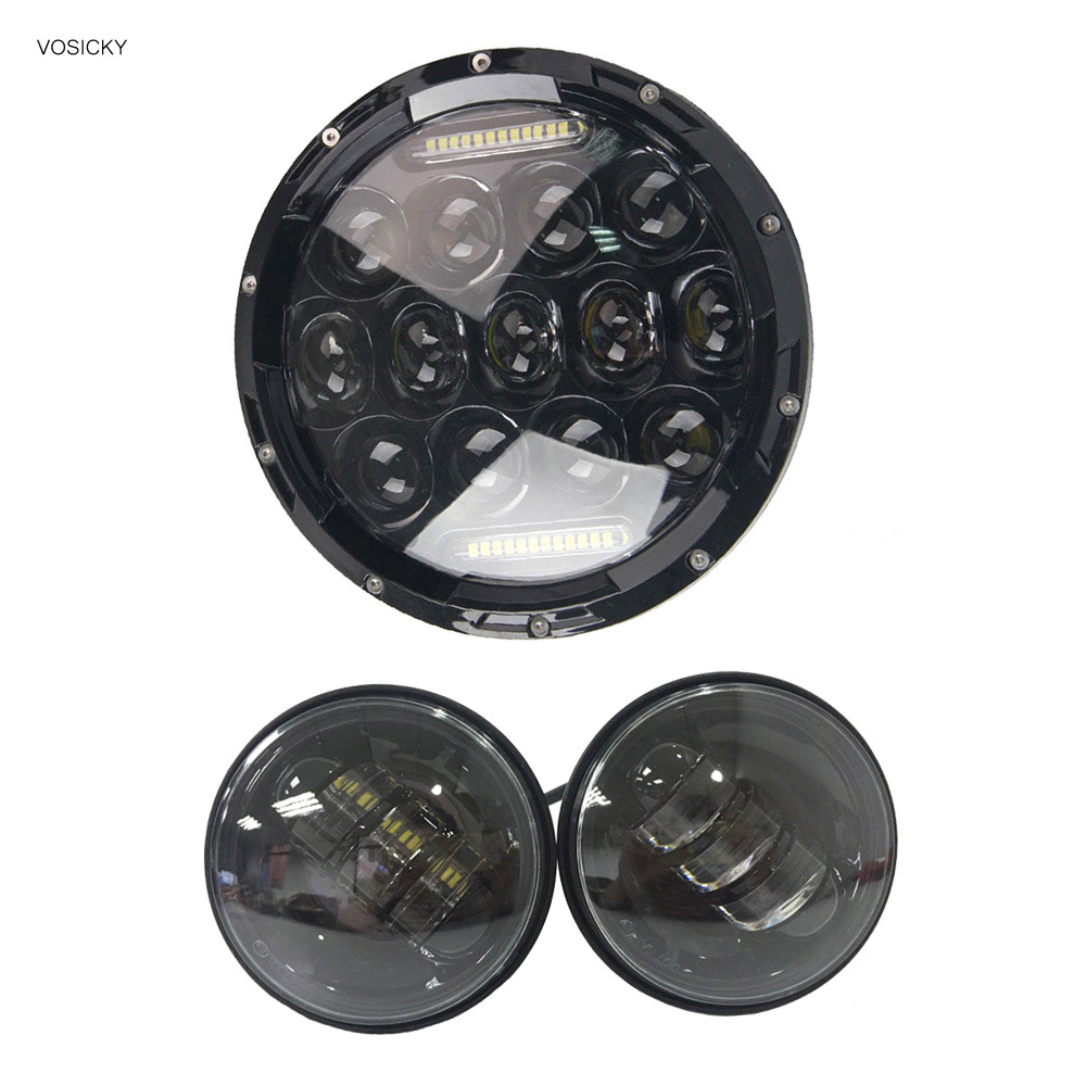 75w 7 inch LED headlight Daymaker High Low Beam for Harley Davidson with 4.5 inch Led Fog Light Passing Lamps