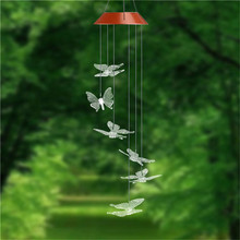 Solar Power Humming Bird LED Garden Light Romantic Windbell Wind Chime Lamp Color Changing for Patio,Yard,Garden Decoration