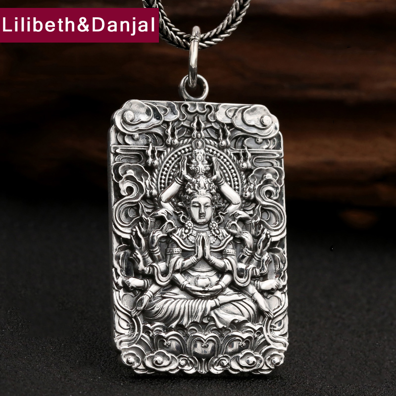 2017 New Buddha Men Women Pendant 990 Sterling silver Ethnic Blessing Lucky Patron Saint Necklace Pendant Gift Fine Jewelry P10