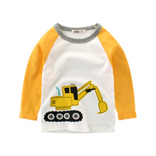 2018 New Printed Cartoon Engineering Car For Kids Shirt Long Sleeved Splice Children Clothing 100% Cotton 2 4 6 8 10 BB Top
