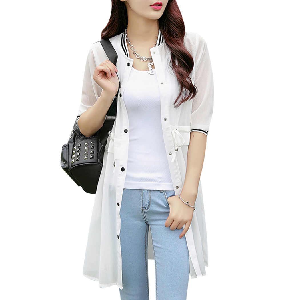 866ea3e196f 2018 Summer Plus Size Women Kimono Cardigan Half Sleeve Chiffon Blouses  Loose Long Tops Ladies Shirts