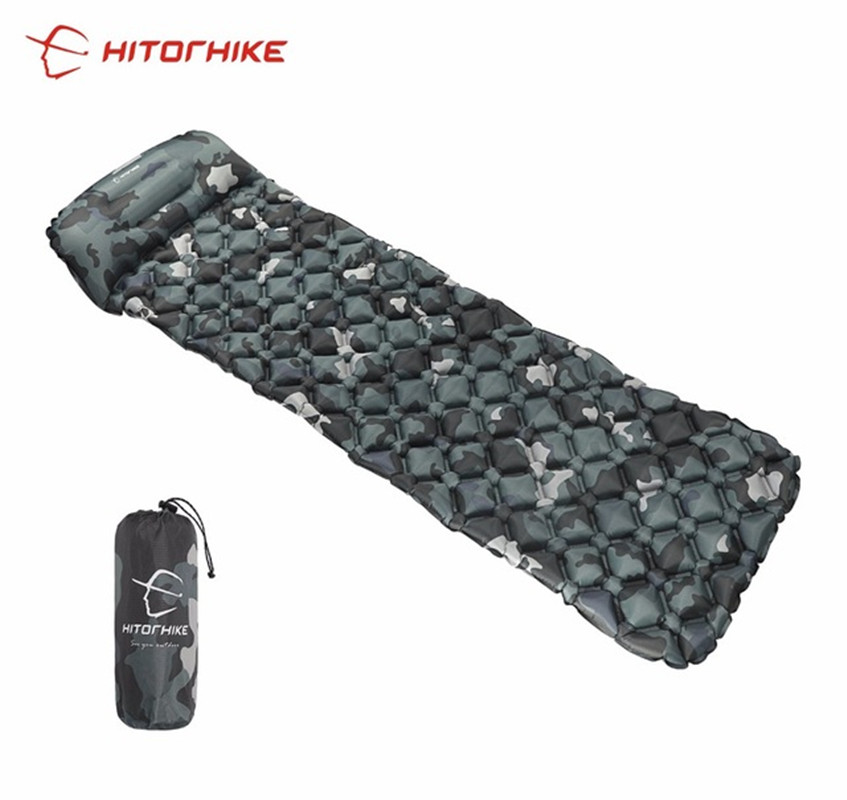 Hitorhike innovative sleeping pad fast filling air bag super light inflatable mattress with pillow life rescue 550g cushion pad