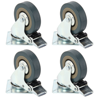 Set Of Heavy Duty 75x21mm Rubber Swivel Castor Wheels Trolley Caster Brake 50KGModel 4 With Brake