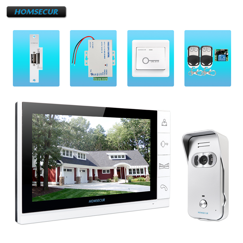 HOMSECUR Video/&Audio Smart Doorbell Silver Camera with Electric Strike Lock Set