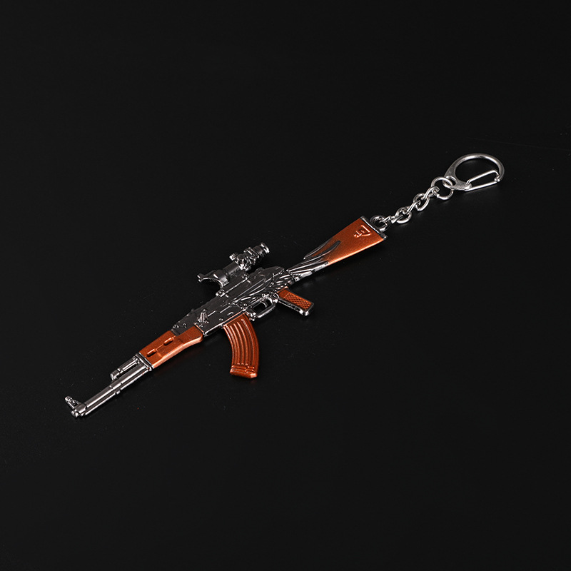 High Quality 2019 New Hot Game 16 Styles PUBG CS GO Weapon Keychains AK47 Gun Model 98K Sniper Rifle Key Chain Ring for Men in Key Chains from Jewelry Accessories