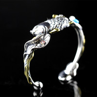 Genuine Solid 925 Sterling Silver Bangles For Women Fish Plays Lotus Classic Vintage Cuff Bangle Bracelet Jonc Argent 925