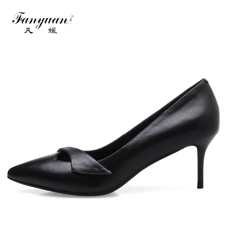 Fanyuan 2017 Black Genuine Leather Pumps Thin Heel Women Pumps High Heels Pointed Toe Shoes Woman office lady Shoes Size 33-41 asumer high heels large size 33 41 office shoes pointed toe square heels slip on women pumps sequined black apricot lady shoes