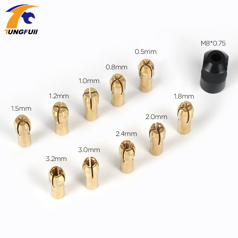 Tungfull Mini Drill Brass Collet Chuck for Dremel Rotary Tool 0.5-3.2mm Brass and nut for dremel accessories 13pcs set brass collet chuck for dremel rotary tool with an a550 shield and dedicated locator horn dremel accessories