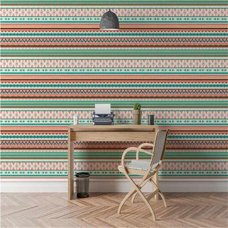 Papeles de pared personalizados rollo indio Vintage papel de pared casa decoración raya simple papel de pared estilo americano Pared de salón papel pintado