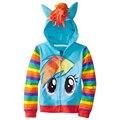 Retail 2017 little pony Niños niños y Niñas chaqueta de la Capa de Los Niños Cute Girls Abrigo, sudaderas con capucha, las niñas de Algodón chaqueta de la ropa de los niños