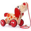 Wooden Cartoon Patrol Puppy Crocodile Pull Along With Wheel Paw Firmly Printed Harmless Pattern Toy For Toddlers
