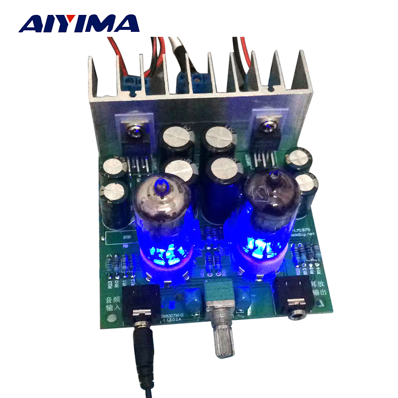 Aiyima Hifi 6j1 tube amplifier audio board LM1875T Headphones amplifiers For DIY kits Pre-amp audiophile ...