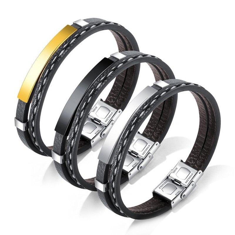 (3Pcs) Mens Bracelets 2018 Vintage Black Leather Bracelet Stainless Steel Jewelry Pulseras Hombre Charm Bracelets Men Jewellery