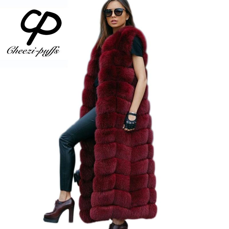 CP Brand About 120cm Super Long Fur Vest Winter Women Luxury Faux Fox Fur Vest Furry