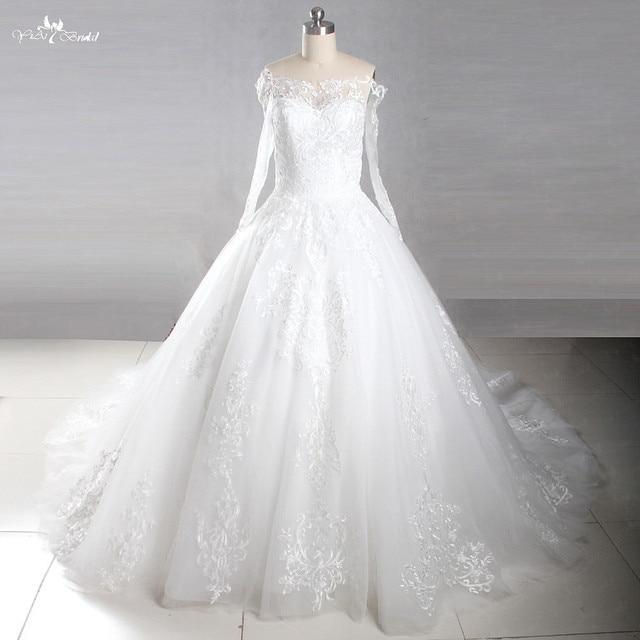 Lz223 Real Sample 2018 New Design Lace Royal Train Wedding Dresses