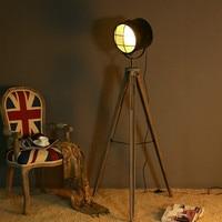Vintage Retro Industrial Loft Illumination Wood Led Tripod Floor Light With Remote Control For Photography Studio Living Room