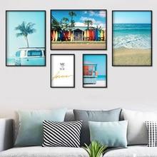 Mar Surf en la playa coche Coco árbol citas cuadro sobre lienzo para pared carteles nórdicos e impresiones cuadros de pared para decoración para sala de estar