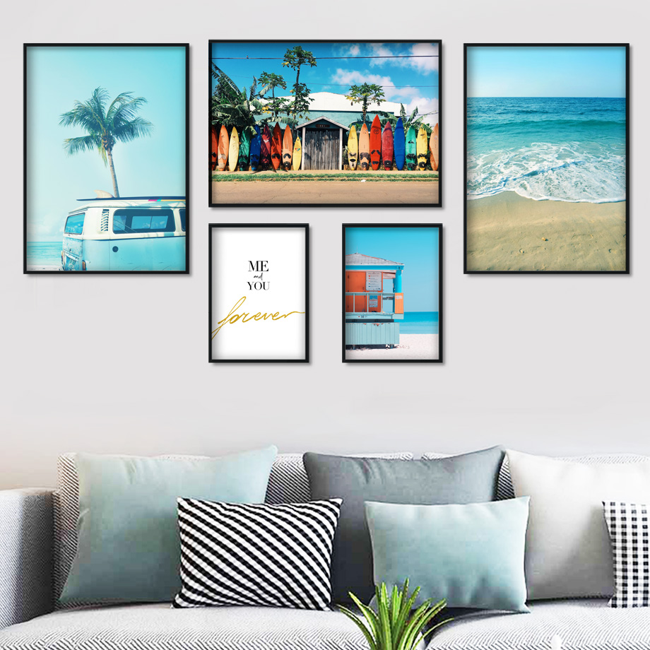 Sea Beach Surf Car Coconut Tree Quotes Wall Art Canvas Painting Nordic Posters And Prints Wall Pictures For Living Room Decor-in Painting & Calligraphy from Home & Garden