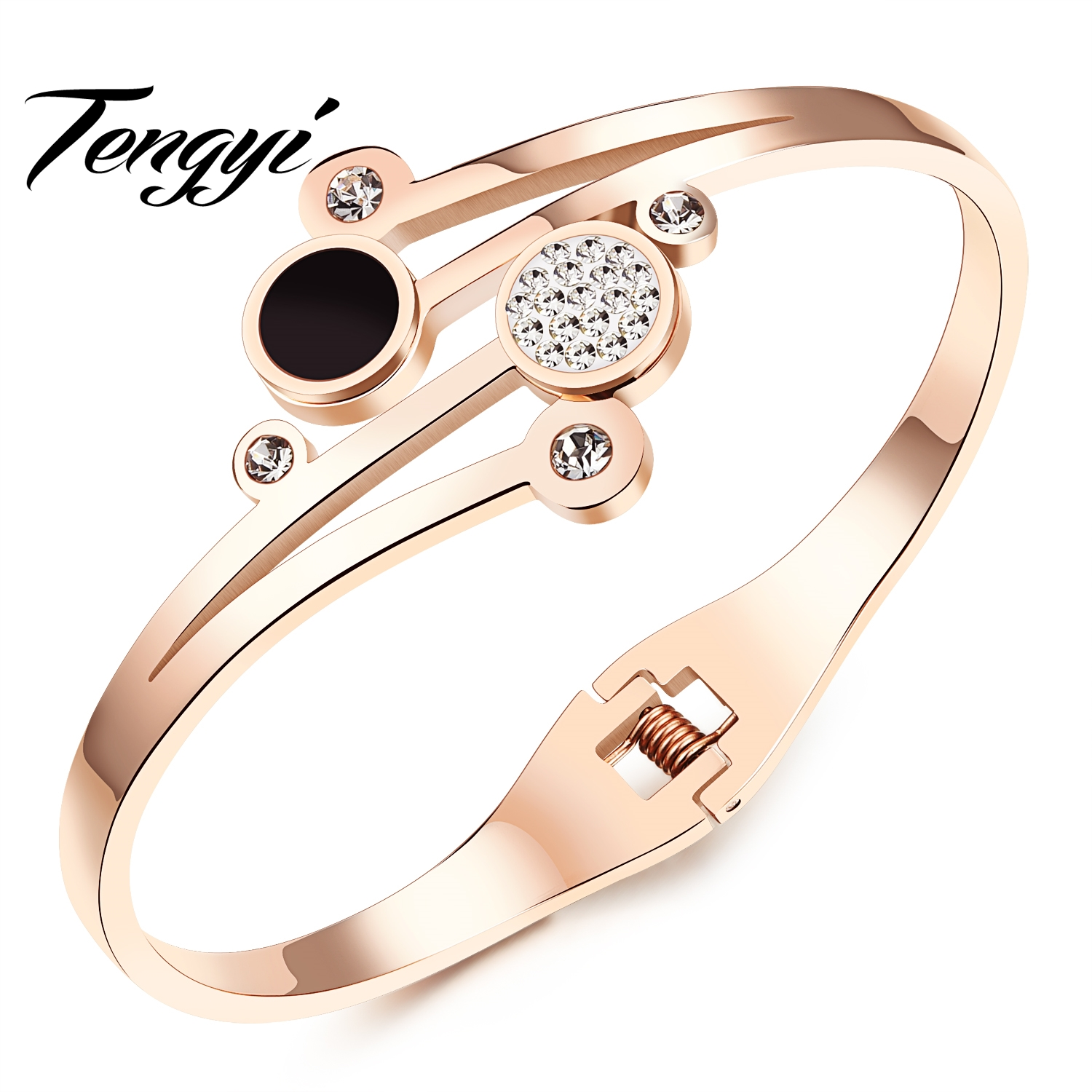 TENGYI 2017 New Arrival Fashion Rose Gold Color Bracelet Stainless Steel Crystal CZ Cuff Bracelet Bangle Jewelry For Women TY836