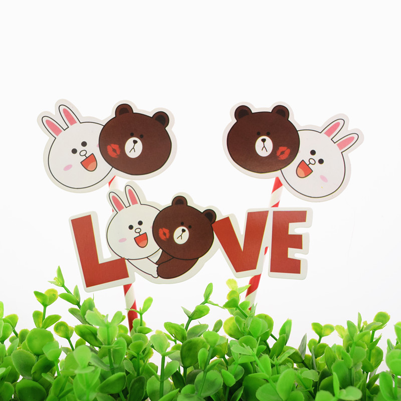 1pc DIY Love Bear Happy Birthday Wedding Cake Flag Baby Shower Topper For Party Baking Decor
