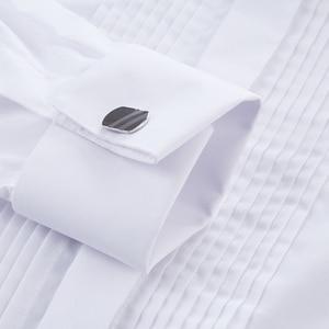 Image 5 - French Cuff Shirts Long Sleeve Casual Luxury Tuxedo Shirt White Black Pink Party Wedding Male Dress Shirt Fashion Men Clothing
