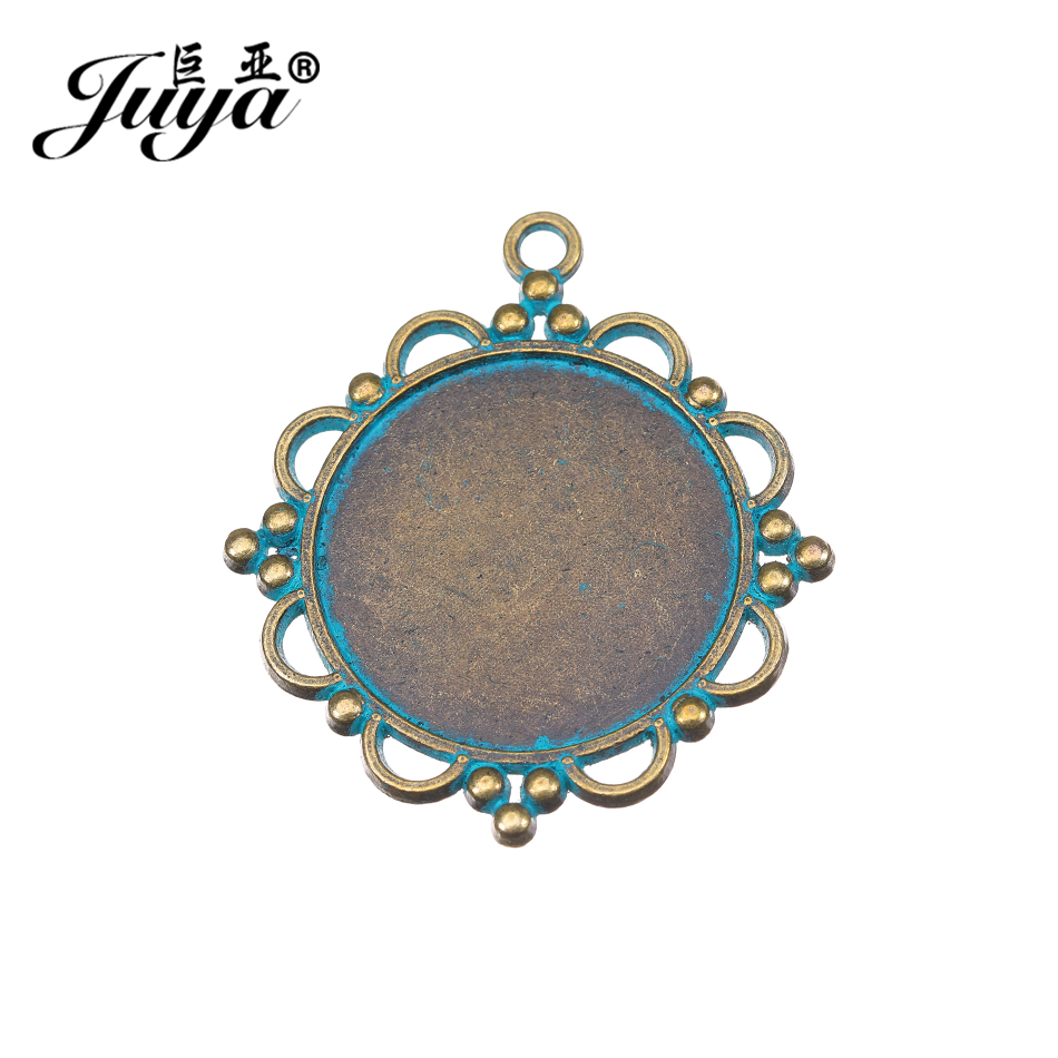 JUYA Hollow Necklace Pendant Base Tray Bezel Blank 4pcs Zinc Alloy Ancient Bronze Fix 30mm Inner Size Cameo Cabochon AD0137