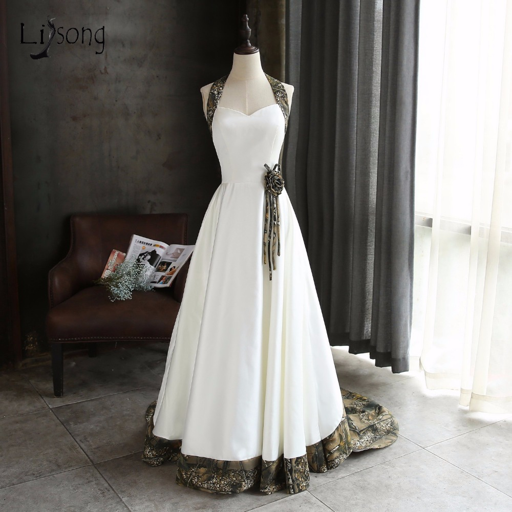 Cool Camo Wedding Dresses 2018 WithBridal Veil Halter Off Shoulder Plus Size Fashion Robe De Mariee