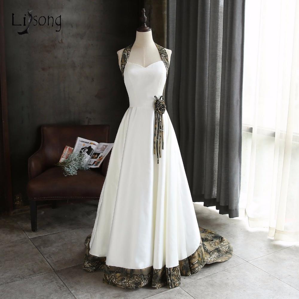 Halter White Camouflage Wedding Dresses 2019 Camo Bridal Gowns With Veil Vestido De Noiva Custom Make Size Free Shipping The Latest Fashion Wedding Dresses