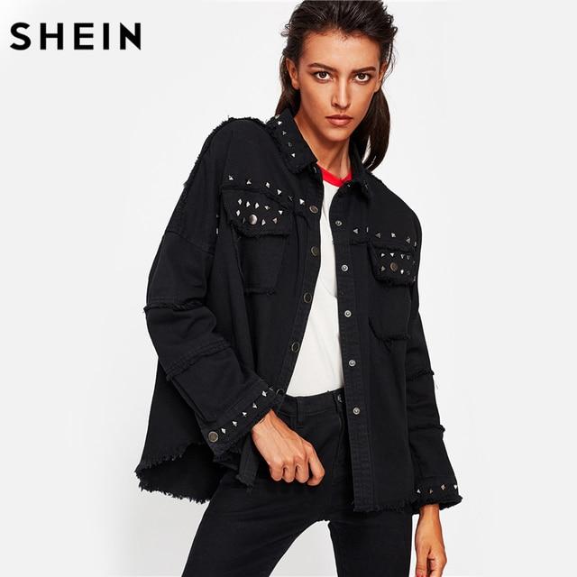 0911a436ca SHEIN Studded Frayed Hem Denim Jacket Autumn Women Coats Black Lapel Single  Breasted 2017 Women's Jackets