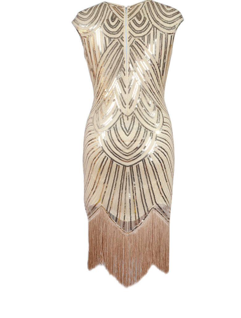 ... Women 1920s Flapper Dress Vintage O-Neck Butterfly Sleeve Long Great  Gatsby Dress Embellished Beaded ... 899c00f2173f