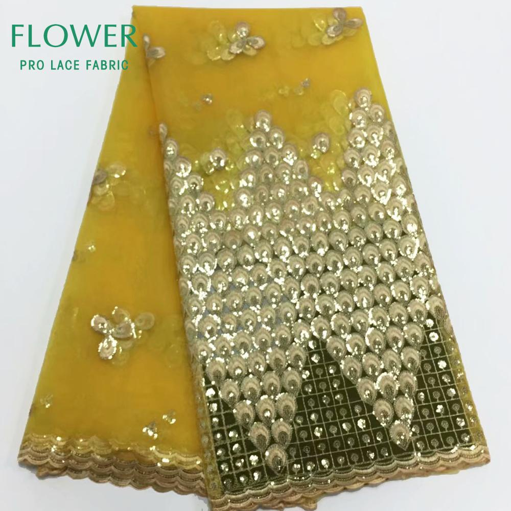 Gold Sequins Lace 2019 African Lace Fabric High Quality French Net Embroidery Tulle Lace Nigerian Fabric