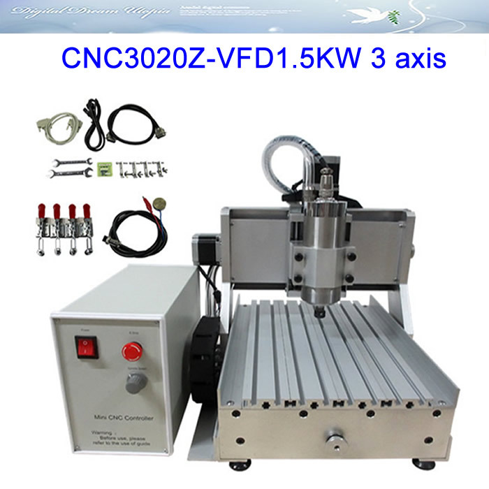 3 axis CNC Router Engraver Machine LY CNC3020Z-VFD1.5KW for metal milling меж дней бегущих